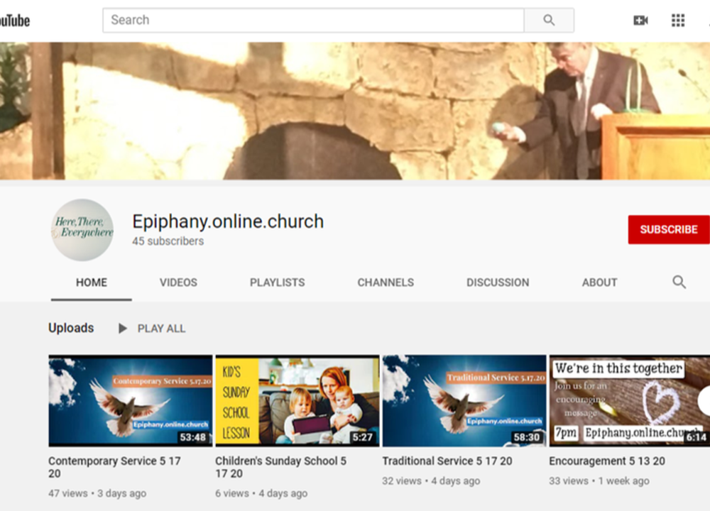 We are Live Streaming our Worship Services on YouTube
